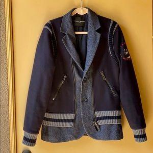 Frankie Morello Dark Blue Wool & Cashemere Jacket